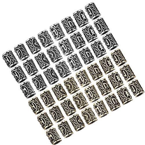 HEALLILY 48 Piezas Vikingos Nórdicos Runas Cuentas de Barba Cuentas de Tubo de Pelo Cuentas de Rastas Anillo de Barba Antiguo para Bricolaje Trenzado de Cabello Pulsera Collar Joyería