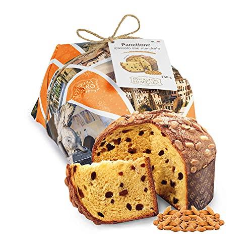 Panettone artigianale alle Mandorle senza canditi di Fraccaro Spumadoro, dolce natalizio Made in Italy – 750 gr.