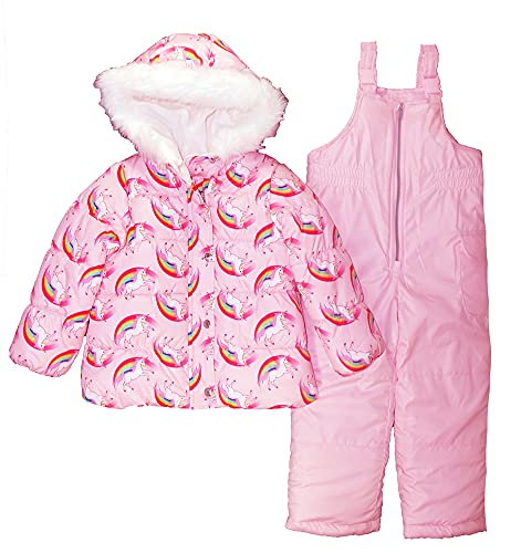 Carter's Girls Two Piece Unicorn Snowsuit, Pink, 5/6