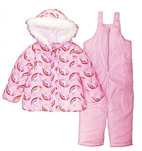 Carter's Girls Two Piece Unicorn Snowsuit, Pink, 6X