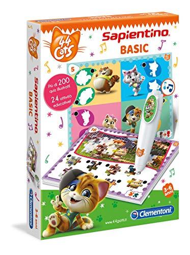 Clementoni - 16164 - Sapientino Stift Basic - 44 Katzen - Quizspiel mit interaktives Stift, Lernspiel 3 Jahre, sprechende Elektronik - Made in Italy, inklusive Batterien