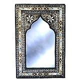 Espejo de pared oriental de 60 x 40 cm, de madera maciza y decorado con metal noble, Maychort | Espejo perchero estilo oriental vintage