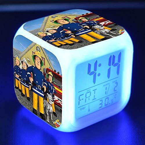 shiyueNB Feuerwehrmann Sam Cartoon Spielzeug Kinder Wecker LED Verfärbung Digitaluhren Nacht Wecklicht leuchtende Elektronik