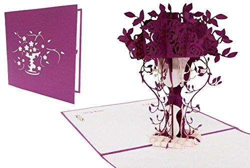 LIN-POP UP Grußkarten, Dankeskarten, Gute Besserung, Geburtstagskarten, Muttertagskarten, Lila Blumenstrauß