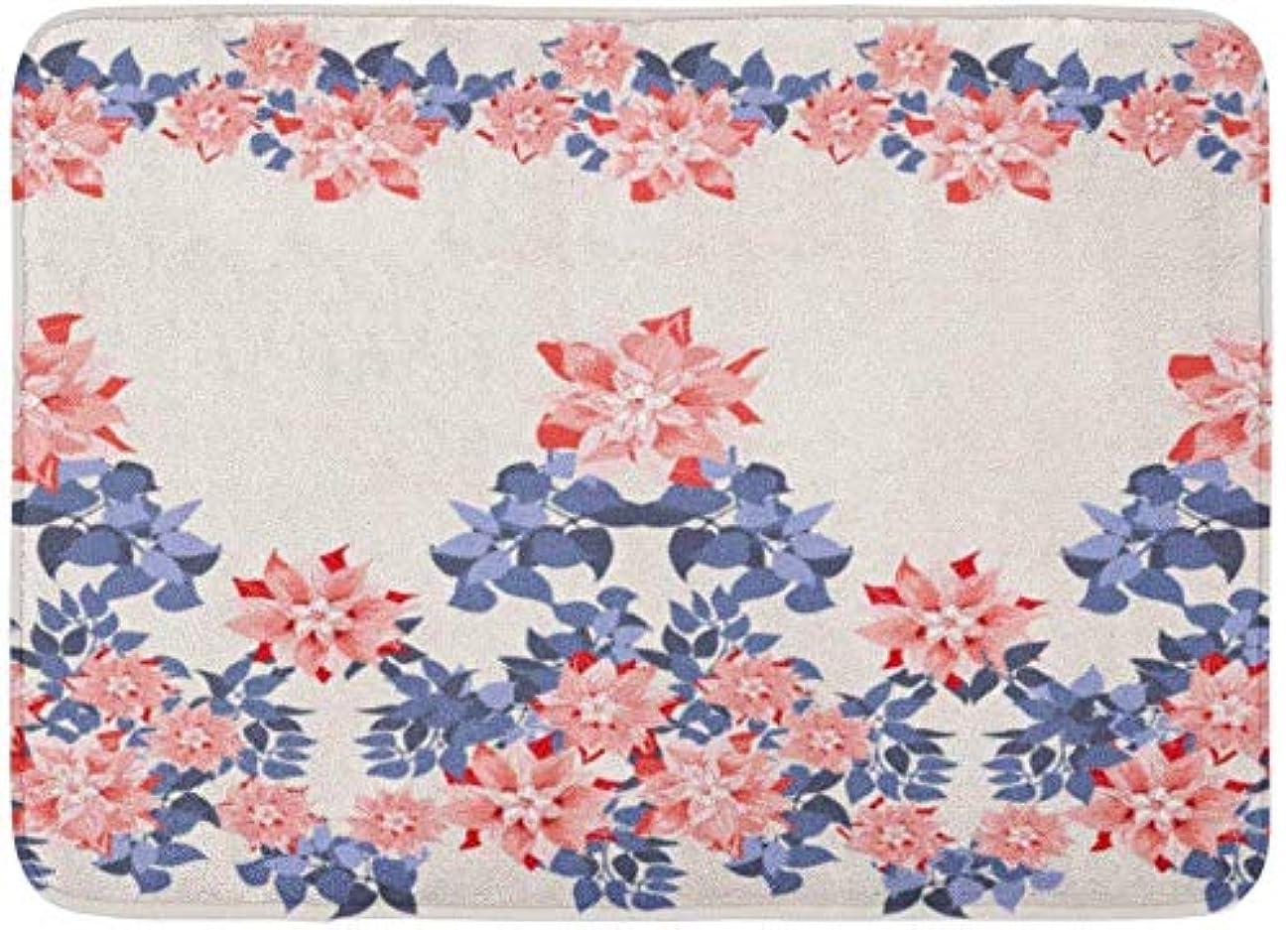 可能性オーブン絶滅したAmxxy クレマチスとネイビーのかわいい花のゴージャスな境界線花のエキゾチックなパターンがデコパージュサテンの背景パターンフランネル屋内フロアマットバスラグは、超吸収性3D印刷60x40cmのずれや滑りを防ぎます