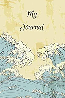 My Journal: Beautiful Classic Japanese Notebook With Grunge Look And Blue White Waves Perfect For Japan Lovers Or As A Gift In Any Occasion (120 Pages, 6x9)