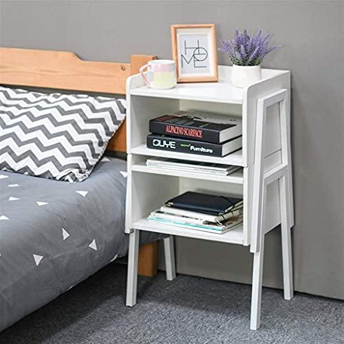 Bijzettafel Bank Bijzettafel, houten nachtkastje met open opslag, stapelbaar nachtkastje, voor kleine ruimtes, thuis, kantoor Witte hoektafel (kleur: 2 stuks)