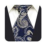 S&W SHLAX&WING Cravatta da uomo cravatta blu e oro Paisley da sposa extra lunga