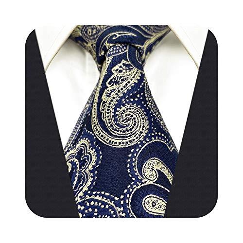 S&W SHLAX&WING Corbata para hombre Corbata azul y oro Paisley Boda Skinny Necktie