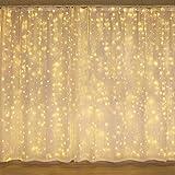 luces Navidad, Cortina de Luces LED 3 * 3M 300 LED Luz Cadena Navidad Impermeable con 8 Modos, Para Fiesta/Boda/Navidad, Guirnaldas luminosas de exterior-interior