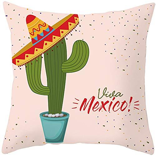 Socoz Funda de terciopelo de poliéster Cactus Viva Mexico Rosa Verde Fundas