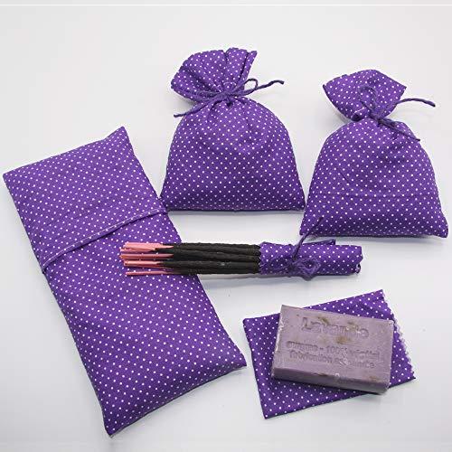 Lavendel-PACK Augenkissen, Lavendel-Bioseife, handgemachter Weihrauch, Baumwollbeutel und Lavendelsamen