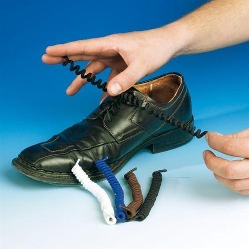 Schuh Schnür Senkel Schnürsenkel Schnürband elastisch, 1 Paar, spiralförmig, Farbe:schwarz
