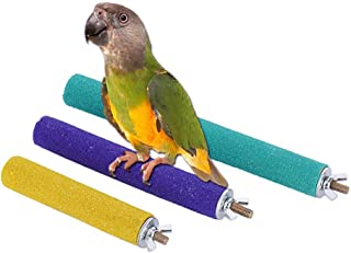 PIVBY Wood Bird Cage Perch Colorful Parrot Stand Toy Platform Paw Grinding Stick for Amazon Parrot Bird Colors Vary Pack of 3