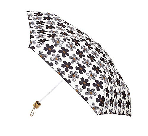 Paraguas Vogue Estampado. Colección Natural World. Puño Madera. Paraguas Plegable. Antiviento, Filtro Solar y Acabado Teflón, antigoteo. (Estampado Flores)