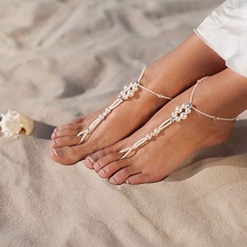 Simsly Beach Fußkette mit Zehenring Perlen Knöchel Armband Perle Fuß Zubehör Schmuck für Frauen und Mädchen (2PC) | Schmuck > Fußschmuck > Zehenring | Simsly
