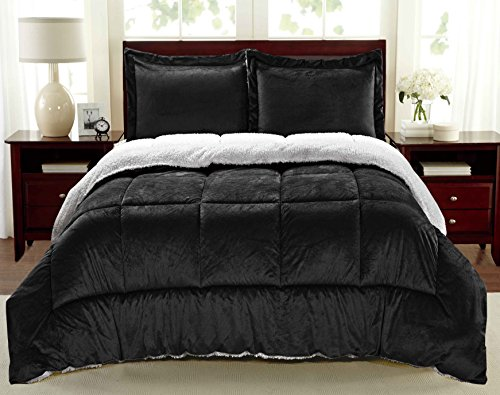 Cathay Home Fashions Reversible Faux Fur and Sherpa 2 Piece Comforter Set, Twin, Black