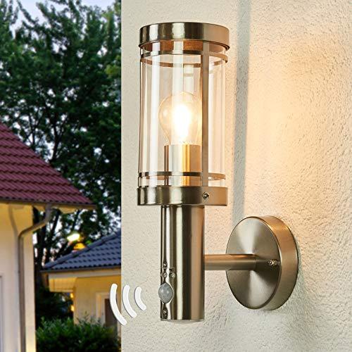 Lindby Wandleuchte außen 'Djori' mit Bewegungsmelder (spritzwassergeschützt) (Modern) in Alu aus Edelstahl (1 flammig, E27, A++) - Außenlampe, Wandlampe für Outdoor & Garten Außenwand/Hauswand, Haus