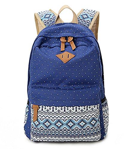 DNFC School Bags for Girls Boys Teenager Canvas Backpack Rucksack Fashion Daypack Sports Bag Laptop Book Bag Satchel Cool Back Pack Backpack (Blue)