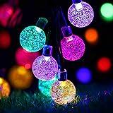 Cadena de Luz Solar, 6.5M 30 LED 8 Modos Solar Bola de Cristal Luz Decorativa, IP65 Impermeable Decoración de Cadena de Luz Exterior para Jardín, Arboles, Navidad, Bodas, Fiestas (Vistoso)
