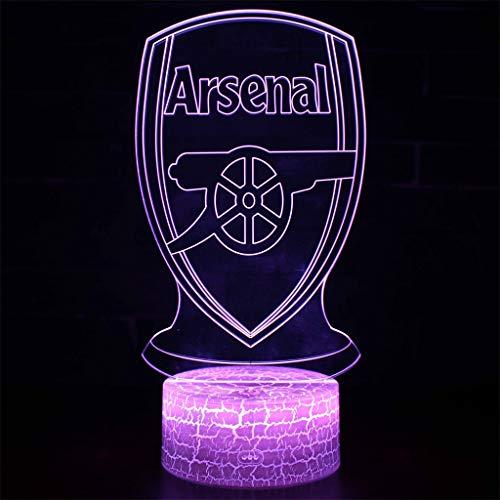 Arsenal LED Club de lumière décorative/Nuit 3D Lumière, 7 Variations de couleurs, Panneau acrylique, base ABS, câble USB, base Crack, Chambre Table Table Décoration Lumière