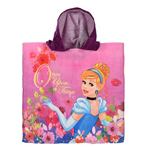 Disney Princess: Bademantel/Kapuzen Poncho für Mädchen, 100% Baumwolle (Frottier)