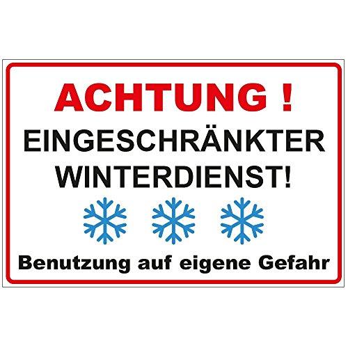 """Schild """"Achtung - Eingeschränkter Winterdienst"""" aus Alu / Dibond 200x140 mm - 3 mm stark"""