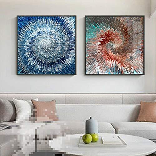 YHHZW Geometría rotar Carteles e Impresiones Abstractos radiales Arte de Moda Pintura de Lienzo Moderna Cuadro de Arte de Pared para decoración de Sala de estar-50x50cm Sin Marco
