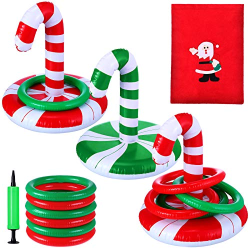 3 Sets Christmas Inflatable Candy Cane Ring Toss Game Christmas Games with Air Pump and Christmas Bag for Kids Indoor Outdoor Christmas Party Game Supplies