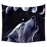 #Wandteppich #Wolf #heulender-Wolf #Wolfskopf #Mond #blau-schwarz-weiss 130x150 oder 150x200cm