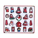 wdd Christmas Tree Small Ornaments Boxed,Santa, Snowman Christmas Ornaments,Wooden Window Props Holiday Party Dress up Accessories (D)