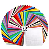 Vinyl Sheets, Ohuhu 70 Permanent Adhesive Backed Vinyl Sheets Set, 60 Vinyl Sheets 12' x 12' + 10 Transfer Tape Sheets, 30 Color Sheet for Birthday Party Mother's Day Decoration, Sticker, Craft Cutter