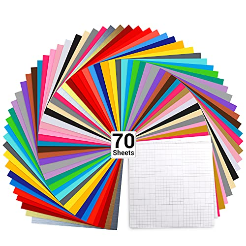 "Vinyl Sheets, Ohuhu 70 Permanent Adhesive Backed Vinyl Sheets Set, 60 Vinyl Sheets 12"" x 12"" + 10 Transfer Tape Sheets, 30 Color Sheet for Birthday Party Mother's Day Decoration, Sticker, Craft Cutter"