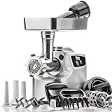 STX International'Gen 2 -Platinum Edition' Magnum 1800W Heavy Duty Electric Meat Grinder - 3 Lb High Capacity Meat Tray, 6 Grinding Plates, 3 S/S Blades, 3 Sausage Tubes & 1 Kubbe Maker & Much More!