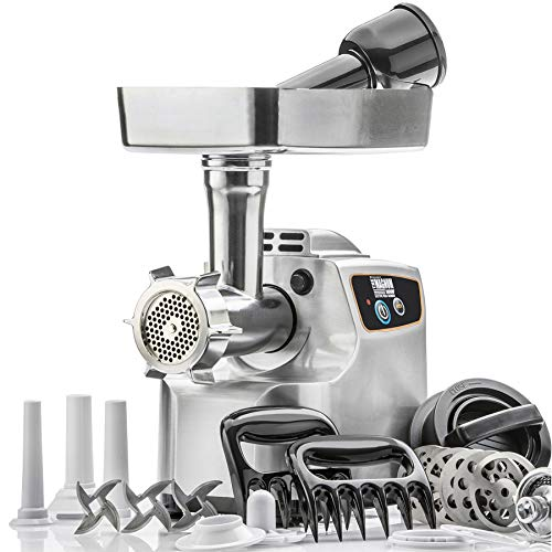 """STX International""""Gen 2 -Platinum Edition"""" Magnum 1800W Heavy Duty Electric Meat Grinder - 3 Lb High Capacity Meat Tray, 6 Grinding Plates, 3 S/S Blades, 3 Sausage Tubes & 1 Kubbe Maker & Much More!"""