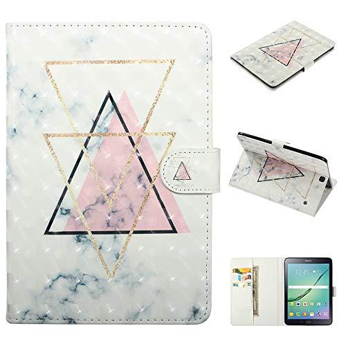 BIZHIKE Funda para Samsung Galaxy Tab S2 9.7 Pouces SM-T810 / T815 Smart Cover de Piel Stand Flip Wallet Case con Porta lápiz y Ranura para Tarjetas-Polvo de triángulo invertido