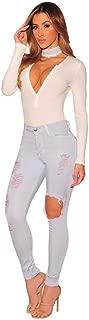 Wady's Fashion Light Gray Ripped Mid Waist Skinny Jeans