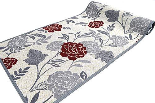Fiorenza Tappeto decorato, Passatoia 50cm per Cucina e Bagno, Lavabile, Antiscivolo, con bordo in cotone (Flower Grey, 50x180cm)