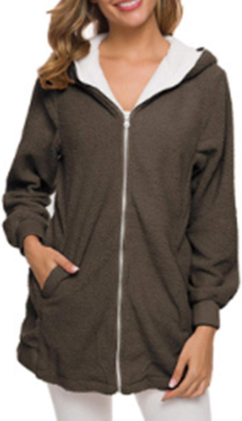Ylansea Women's Warm Hooded Coat Furry Faux Shearling Zip Pocket Winter Long Outerwear