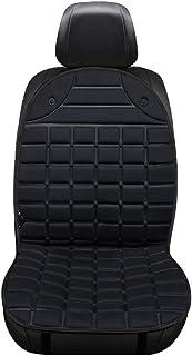 Cojín del asiento del automóvil, almohadilla de la manta de calefacción del automóvil, amortiguador de respaldo universal del automóvil con calefacción de 24 V, adecuado para el clima frío,Black