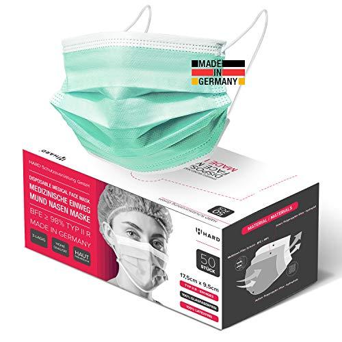 HARD 50x Medizinischer Mundschutz, Made in Germany, OP-Maske TYP IIR, CE zertifiziert EN14683, 99,78% BFE 3-lagig Öko TEX, schützende Mund-Nasen-Bedeckung, Einweg-Gesichtsmasken Erwachsene - Grün