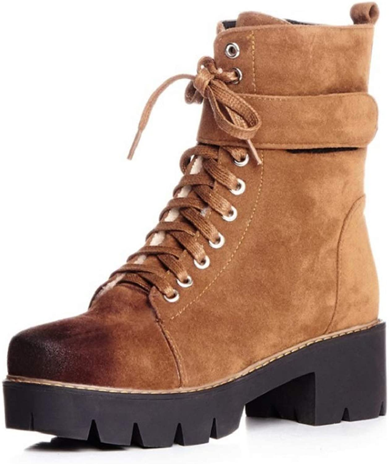 Ladies Women Calf Biker Boots Lace Up Casual Boots Autumn and Winter New Locomotive Belt Buckle Martin Boots Creepers Boots Size