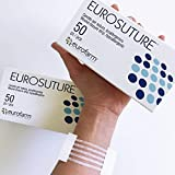 Eurosuture Skin Closure 1/8 x 3 inches Sterile Suture Strips, Dynamic Adherence and Superior Security for Wounds – 50 Envelopes of 5 Strips Each (250 Strips)