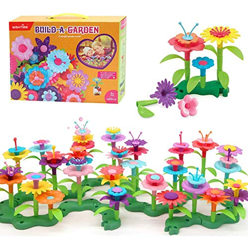 WISHTIME Garden Toys for Girls Flower Garden Building Toy Set 148 Pcs Build a Bouquet Floral Arrangement Playset Educational Creative Craft Toys for 3, 4, 5, 6 7 8 Year Old Toddlers Kids Girls