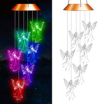 SUMBLIME Angel Solar Wind Chimes Changing Colors - Decorative Hanging Lights for Outdoor Decor Home Patio Yard Tree, Gift for Mom, Grandma, Daughter, Granddaughter