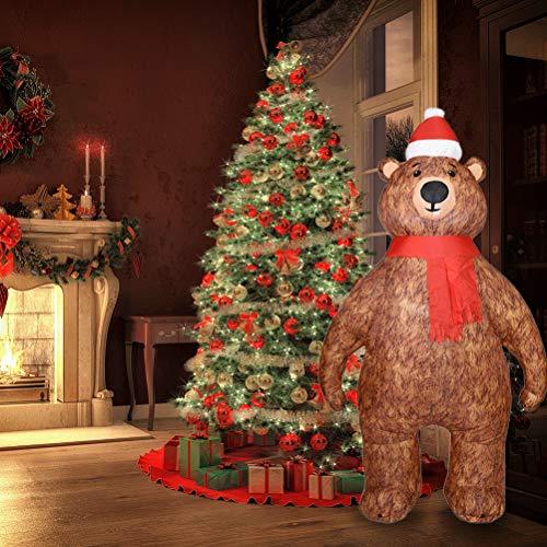 Aufblasbare Weihnachtsdekoration für den Garten, großer Bär, Weihnachtsdekoration, Kostüm, aufblasbar, eingebaute LED, für drinnen oder draußen, Hof, Rasen, Garten, Zuhause, Party, Dekoration, 2,1 m