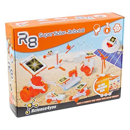 Science4you-R8 Jahre R8 Super Solar Robot-Robotica Wissenschaftliches Spielzeug, 8 Experimente und Lernbuch ES, EN und PT-Geschenk für Kinder, Mehrfarbig (878098)