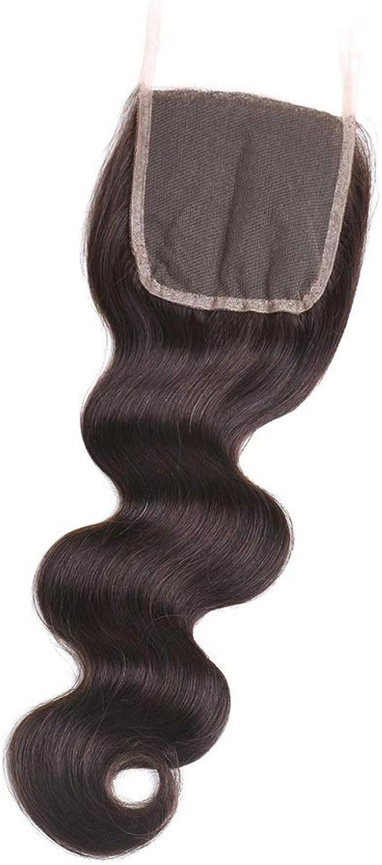 4x4 Inch Body Wave Lace Frontal Closure Brazilian Human Hair for Women DIY Fun (color   Black, Size   10 inch)