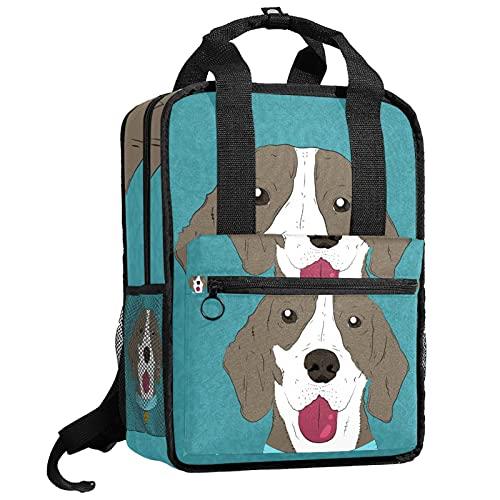 ATOMO Mochila de viaje para la escuela de trabajo para mujeres y hombres, estudiantes universitarios, monóculo, pajarita, perro