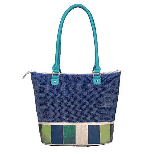noi-noi Paloma d.blue raffia/aqua multicolor - moderne Damenhandtasche/Handtasche für Damen mit Griff und abnehmbaren Schultergurt